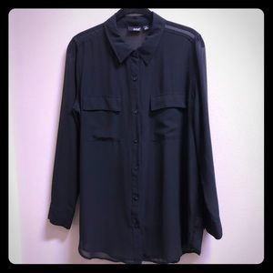 🍁Black Sheer Button-Down Blouse